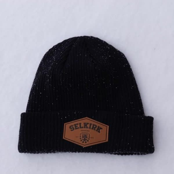 black knit toque with pleather patch